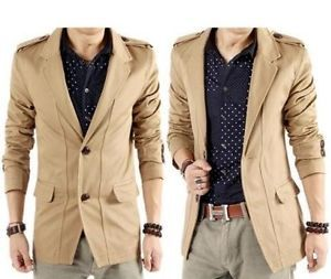 Men Casual Slim Fit 2 Button Suit Blazer Coat Jackets Black Khaki C104