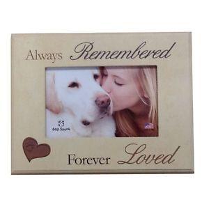 "Dog Speak 7x9"" Pet Memorial Picture Frame ""Always Remembered Forever Loved"""