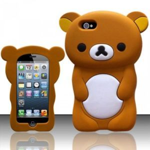 Apple iPhone 5 Brown Cute Teddy Bear Animal Rubber Skin Case Cover