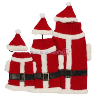 Pet Dog Apparel Christmas Santa Costume Clothes Coat Sweater Hat Red 3 Size