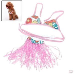 2X Pet Dog Hawaiian Bikini Hula Skirt Dance Dress Beach Party Costume Size S