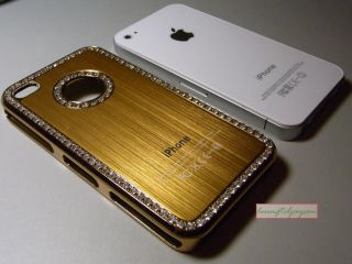 Luxury Elegant Diamond Bling Crystal Designer Case Cover Skin for iPhone 4 Gold