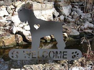 Miniature Schnauzer Garden Plaque Pet Memorial Yard Stake Personalized Metal Dog
