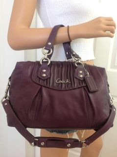 Coach Purple Ashley Plum Gathered Leather Satchel Shoulder Bag Purse