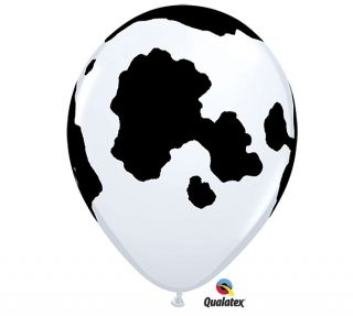 "12 Cow Holstein Black Print Farm Barn Animal Birthday Party 11"" Balloon Latex"