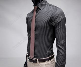 Men Stripe Stylish Casual Dress Slim Fit Long Sleeve Shirt Black Blue M L XL XXL