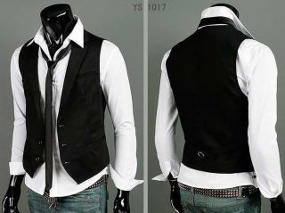 Mens Top Designed Casual Slim Fit Skinny Dress Vest Waistcoat 2Colors H123