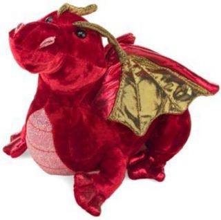 "Dragon Ruby Red Plush Stuffed Animal Rich Gold Metallic Wings 15"" Douglas New"