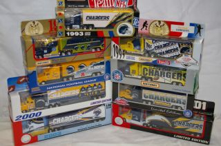 New NFL San Diego Chargers Die Cast Truck Trailer Collectibles 1993 to 2003