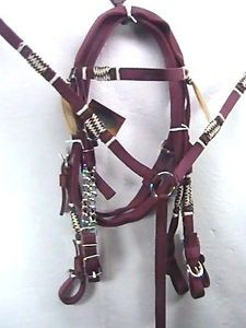 Maroon Bridle Set w Breast Collar and Rawhide Accents Horse Tack Equine