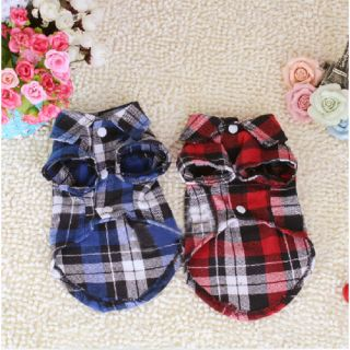 New Small Pet Dog Puppy Clothes Apparel Plaids T Shirt Size s M L