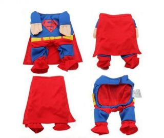 New 4 Size Christmas Superman Shirt Hoodie Tee Small Pet Dog Clothes Apparel