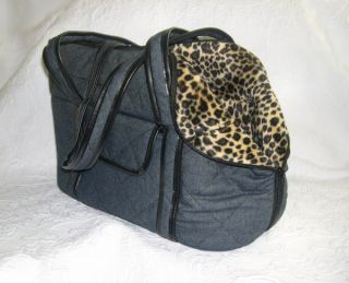 Denim Dog Pet Carrier Plush Faux Fur Leopard Small Toy Dogs