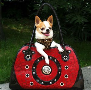 Textured Red Black Leather Pet Carrier Small Dog or Cat Airline Tote Bag Purse