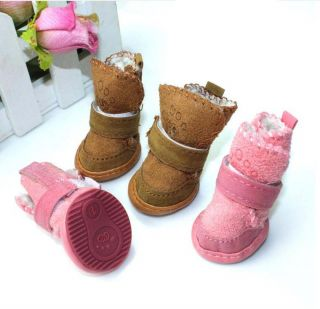 Pink Coffee Size 1 5 Winter Warm Cozy Small Dog Shoes Boots Clothes Pet Supply