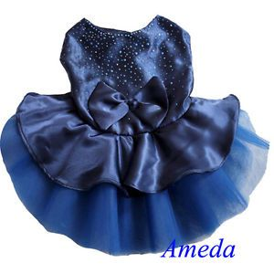 Blue Tutu Bling Bling Crystal Party Dress Small Pet Dog Cat Clothes XS s M L