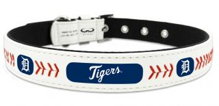 Detroit Tigers Classic Leather Baseball Dog Collar