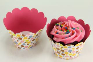 24x Reversible Cupcake Wrappers Wrap Liners Mutli Color Polka Dot