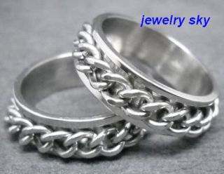R0360 Strong Man's Cool Chain Belt Stainless Steel Spin Ring High Quality Sz 10