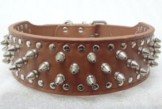 Pink Leather Dog Collar Spikes Studs Collar Pit Bull Dog Terrier Collars