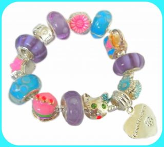 Childrens Girls Personalized Birthday Hello Kitty Charm Bracelet Gift Boxed