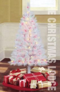 4 ft Pre Lit White Christmas Tree 173 Tips 150 Multi Colored Lights