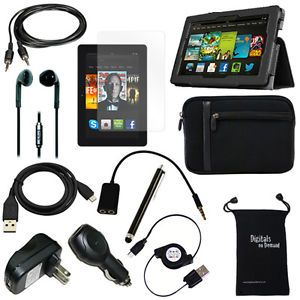 "12 Item Bundle for  Kindle Fire HDX 7"" Tablet Cover Cases USB Chargers"