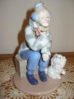 Porcelain Clown Traveling Hobo Whitie Small Dog Puppy Figurine 2002 Vintage