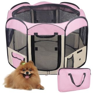 "57"" XL 2 Door Pet Puppy Dog Playpen Excercise Kennel Soft Tent Crate Cage Pink"