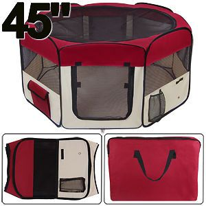 "45"" Playpen Exercise Pet Puppy Dog Cat Pen Kennel Crate"
