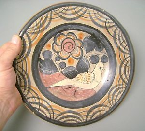 Handmade HP Jalisco Tonala Clay Mexico Mexican Pottery Dove Plate Vintage Old