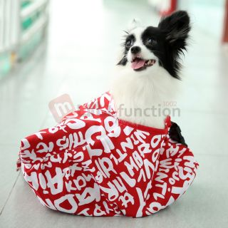 Red White Oxford Cloth Sling Pet Dog Cat Carrier Tote Single Shoulder Bag Size S