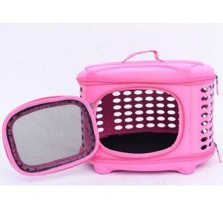 Folading Eva Pet Dog Cat Travel Carrier Portable Handbag Tote Crate Bag Pink