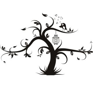Tree Bird Cage Animals Wall Decals Wall Art Stickers Transfers