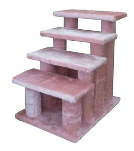 New 4 Steps Pet Dog Cat Step Stairs Ramps Pink 4L