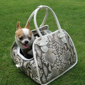 Faux Snake White Leather Pet Carrier x Small Dog Cat Airline Tote Purse Bag