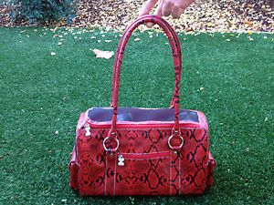 $149 Chromebones Red Faux Snakeskin Python Small Pet Dog Carrier Fido Gift