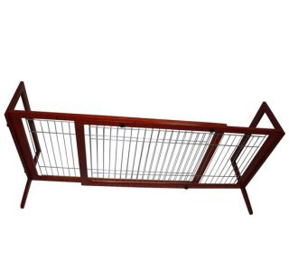 "Adjustable 74"" Wood Pet Barrier Dog Gate Playpen Wire Fence Divider Freestanding"