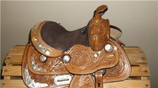 "8"" Western Show Saddle Horse Tack Pony Mini Loaded with Silver"