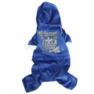 Pet Dog Casual Hoodie Coat Jumpsuit Clothing w Shiny Princess Crown Pattern XL