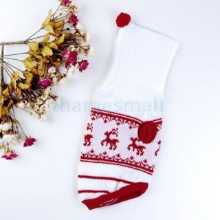 Pet Dog Hooded Sweater Knit Apparel Reindeer Pattern Clothes Clothing Size M