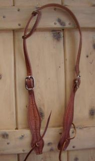 Amish Leather One Ear Bridle Headstall Horse Tack Barbwire Show