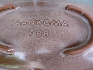Frankoma F88 Low Profiled Art Deco Style Bowl Brown Satin Red Sapulpa Clay