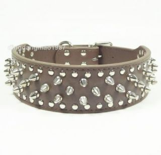 Brand New Leather Dog Collar D Ring Buckle Spikes Studs Big Dog Collar Pitbull