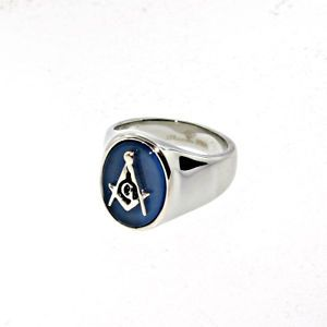 Stainless Steel Oval Blue Onyx Masonic Ring