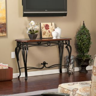 Newcastle Cherry Black Iron Sofa Console Table Wood Glass Top TV Stand Furniture
