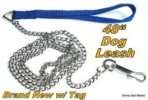 "New Dog Pet Puppy Leash Training Lead Chain w Nylon Handle Swivel Hook 48"" Blue"