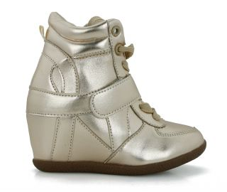New Kids Girls Fashion Wedge Sneaker High Top Youth Casual Hidden Wedge Shoes