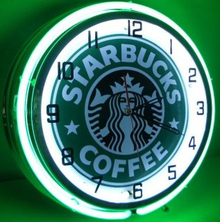 "Starbucks Coffee 18"" Neon Light Wall Clock Espresso Shop Cafe Advertising Sign"
