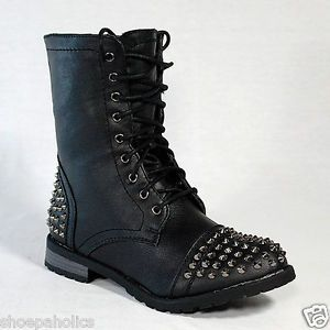 Black Women's Studded Spike Mid Calf Military Lace Up Combat Boots Size 5 to 10
